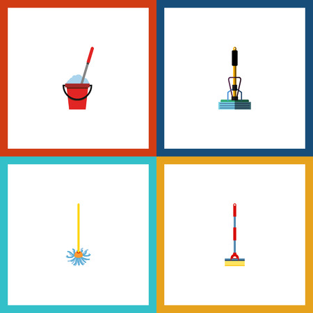 besom: Flat Icon Cleaner Set Of Bucket, Sweep, Broomstick And Other Vector Objects. Also Includes Besom, Broomstick, Broom Elements.