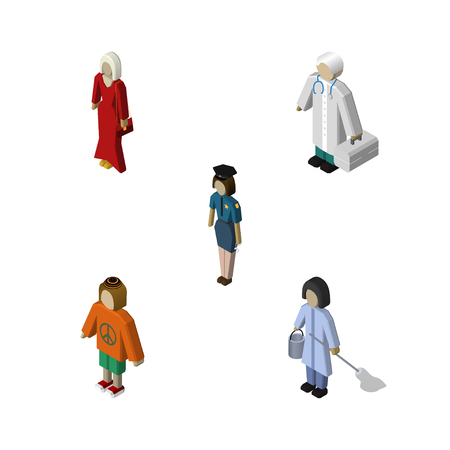 Isometric Human Set Of Housemaid, Policewoman, Female And Other Vector Objects. Also Includes Policewoman, Doctor, Medic Elements.