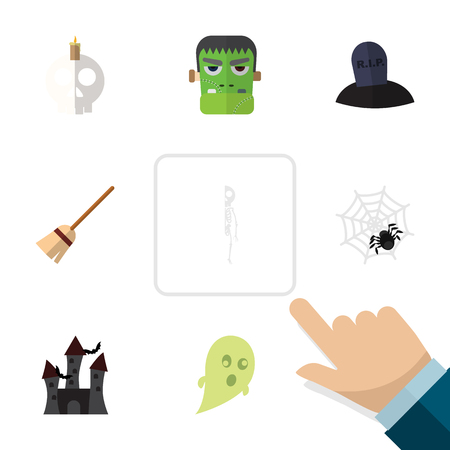 Flat Icon Celebrate Set Of Skeleton, Monster, Cranium And Other Vector Objects. Also Includes Skull, Ghost, Broom Elements. Illustration