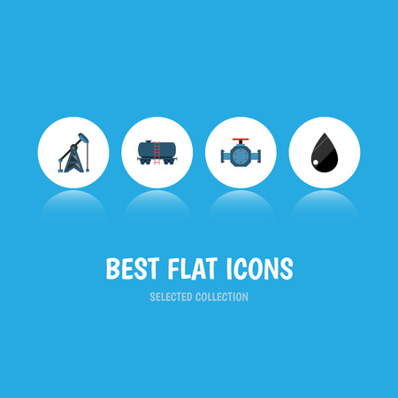 Flat Icon Petrol Set Of Flange, Rig, Container And Other Vector Objects. Also Includes Pump, Liquid, Drop Elements.