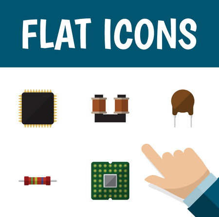 Flat Icon Device Set Of Resistance, Unit, Triode And Other Vector Objects. Also Includes Microprocessor, Triode, Unit Elements.