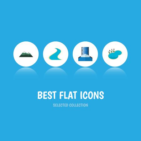 Flat Icon Bio Set Of Tributary, Cascade, Pond And Other Vector Objects. Also Includes Lake, Mountain, Lagoon Elements.