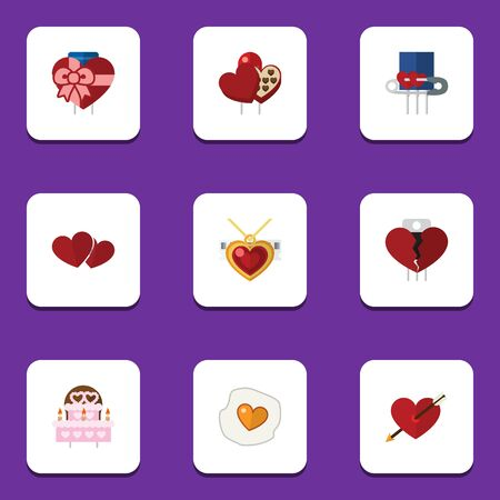 pareja comiendo: Flat Icon Passion Set Of Patisserie, Shaped Box, Closed And Other Vector Objects. Also Includes Pin, Box, Safety Elements. Vectores