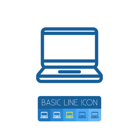computerized: Isolated Display Outline. Laptop Vector Element Can Be Used For Laptop, Display, Computer Design Concept.
