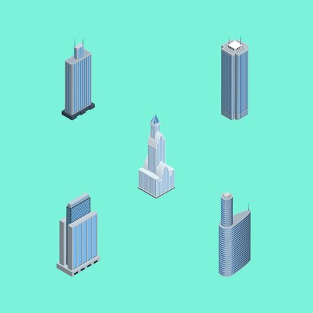 Isometric Skyscraper Set Of Business Center, Building, Skyscraper And Other Vector Objects. Also Includes Cityscape, Apartment, Urban Elements.