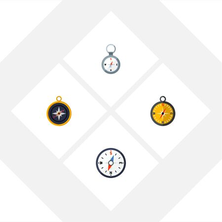 Flat Icon Compass Set Of Divider, Compass, Direction And Other Vector Objects. Also Includes Measurement, Dividers, Direction Elements.