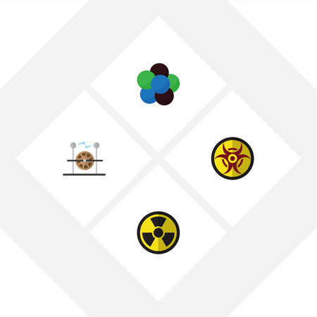 Flat Icon Study Set Of Proton, Danger, Electrical Engine And Other Vector Objects. Also Includes Nuclear, Proton, Engine Elements. Illustration