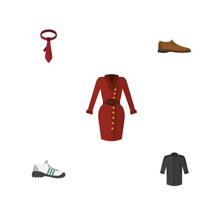 Flat Icon Clothes Set Of Male Footware, Clothes, Cravat And Other Vector Objects. Also Includes Footware, Necktie, Clothes Elements. Illustration