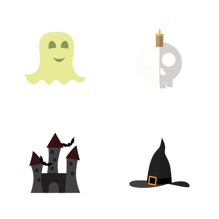 Flat Icon Celebrate Set Of Cranium, Spirit, Witch Cap And Other Vector Objects. Also Includes Halloween, Spirit, Candle Elements. Illustration