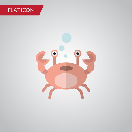 Isolated Crab Flat Icon. Cancer Vector Element Can Be Used For Cancer, Crab, Lobster Design Concept.