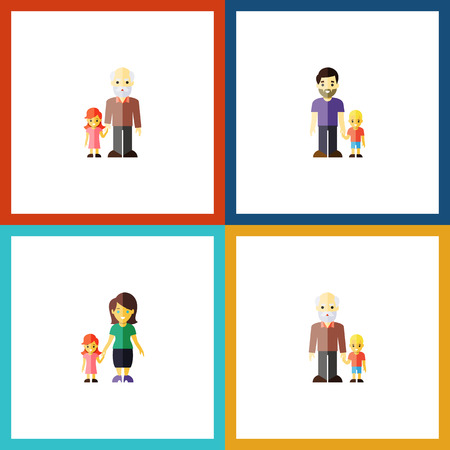 Flat Icon People Set Of Grandson, Grandpa, Mother Vector Objects. Also Includes Grandchild, Son, Grandson Elements.