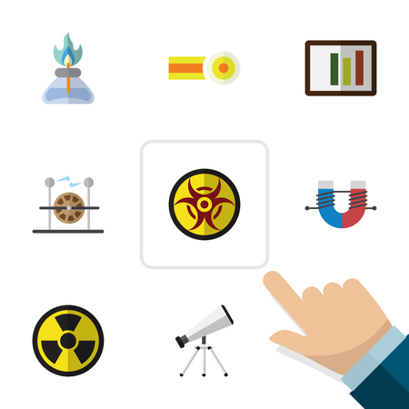 Flat Icon Science Set Of Flame, Irradiation, Scope And Other Vector Objects. Also Includes Risk, Molecule, Burner Elements.