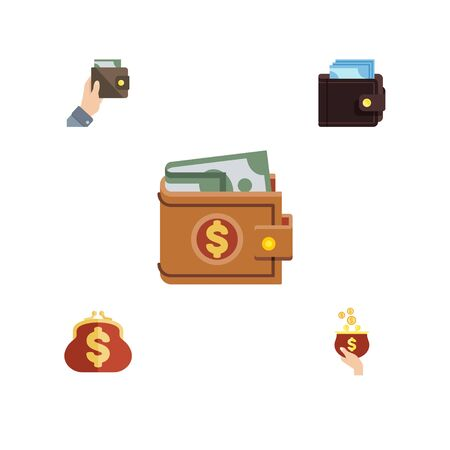 billfold: Flat Icon Wallet Set Of Currency, Purse, Billfold And Other Vector Objects