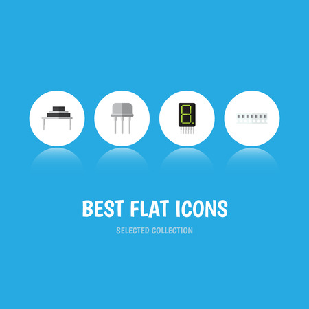 Flat Icon Electronics Set Of Destination, Resist, Memory And Other Vector Objects Illustration