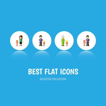 Flat Icon People Set Of Son, Grandma, Father Vector Objects Illustration