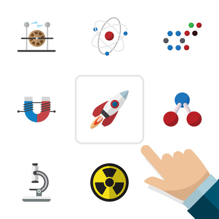 Flat Icon Science Set Of Glass, Electrical Engine, Orbit And Other Vector Objects