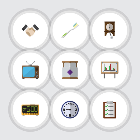numeric: Flat Icon Life Set Of Dental, Clock, Television And Other Vector Objects Illustration
