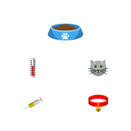 Flat Icon Animal Set Of Vaccine, Kitty, Cat  Eating And Other Vector Objects
