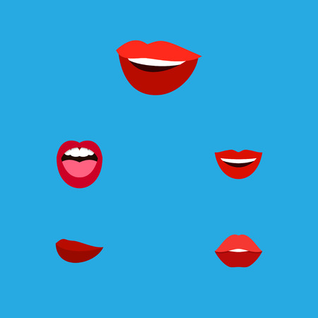 Flat Icon Mouth Set Of Laugh, Tongue, Smile And Other Vector Objects Illustration