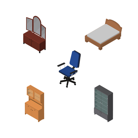 Isometric Furnishing Set Of Drawer, Office, Bedstead And Other Vector Objects