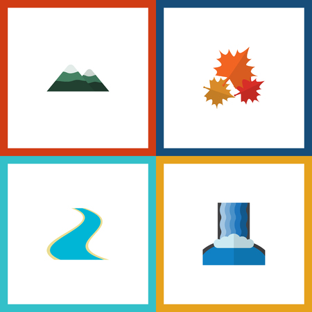 Flat Icon Nature Set Of Cascade, Peak, Canadian And Other Vector Objects