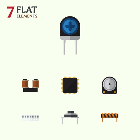 Flat Icon Appliance Set Of Destination, Coil Copper, Bobbin And Other Vector Objects