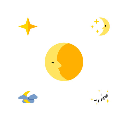 overcast: Flat Icon Midnight Set Of Nighttime, Star, Lunar And Other Vector Objects. Also Includes Asterisk, Nighttime, Lunar Elements. Illustration