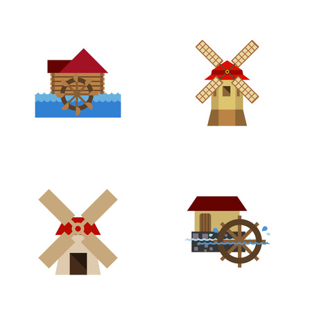 wind mills: Flat Icon Energy Set Of Watermill, Turbine, Wheel And Other Vector Objects