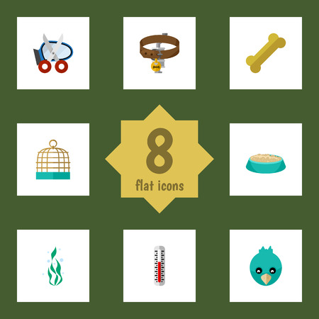 Flat Icon Pets Set Of Shears, Feeding, Temperature Measurement And Other Vector Objects