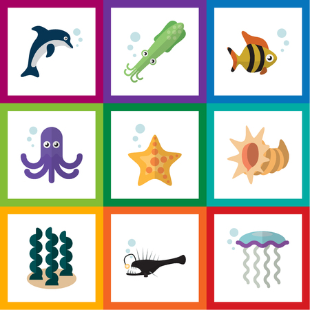 Flat Icon Marine Set Of Playful Fish, Octopus, Sea Star And Other Vector Objects. Also Includes Cockleshell, Starfish, Alga Elements.
