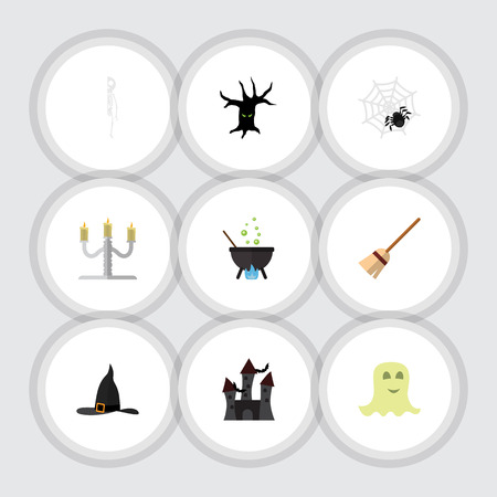 Flat Icon Celebrate Set Of Spirit, Witch Cap, Spinner And Other Vector Objects. Also Includes Magic, Candlestick, Arachnid Elements.