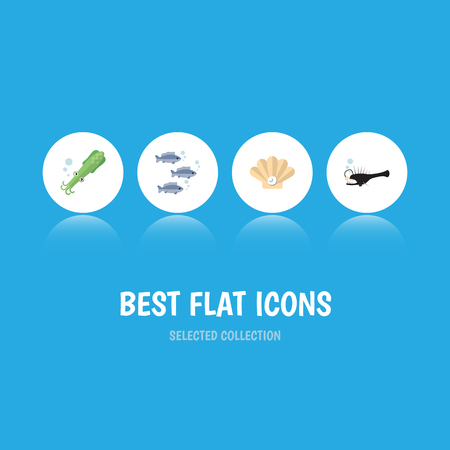 Flat Icon Nature Set Of Tuna, Fish, Octopus And Other Vector Objects. Also Includes Tuna, Seashell, Squid Elements.