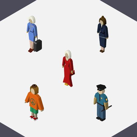 等尺性人実業家、女性、ホステスと他のベクトル オブジェクトのセットです。スチュワーデス、婦人、労働者の要素も含まれています。