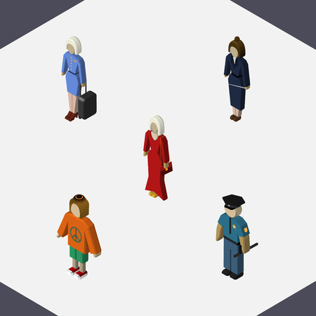 Isometric Person Set Of Businesswoman, Female, Hostess And Other Vector Objects. Also Includes Stewardess, Lady, Worker Elements.