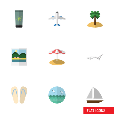 Flat Icon Beach Set Of Yacht, Coconut, Ocean And Other Vector Objects. Also Includes Sun, Bird, Sunbed Elements.