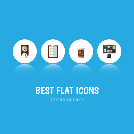 Flat Icon Life Set Of Clock, Questionnaire, Bureau And Other Vector Objects. Also Includes Cappuccino, Bureau, Clock Elements. Illustration