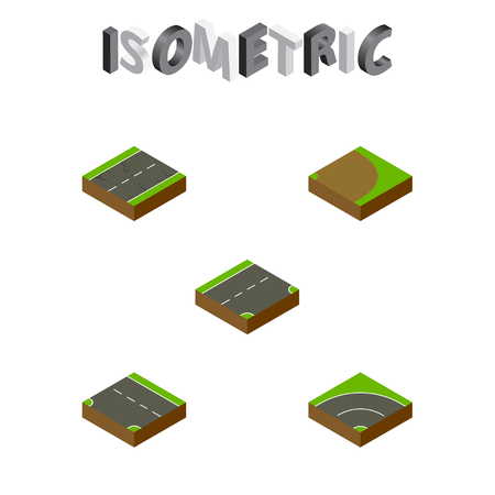 tarmac: Isometric Road Set Of Cracks, Downward, Bitumen And Other Vector Objects. Also Includes Cracks, Turning, Road Elements.