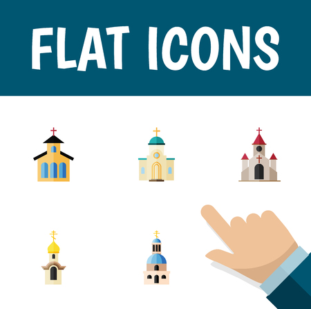 Flat Icon Building Set Of Structure, Traditional, Catholic And Other Vector Objects. Also Includes Catholic, Building, Christian Elements.