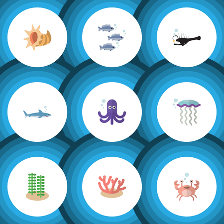 Flat Icon Sea Set Of Tuna, Medusa, Shark And Other Vector Objects. Also Includes Coral, Seafood, Jellyfish Elements. Illustration