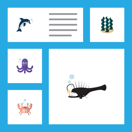Flat Icon Sea Set Of Fish, Cancer, Playful Fish And Other Vector Objects. Also Includes Tentacle, Playful, Seaweed Elements.
