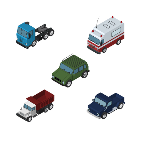 Isometric Car Set Of Armored, Truck, Freight And Other Vector Objects. Also Includes Lorry, Pickup, Armored Elements.