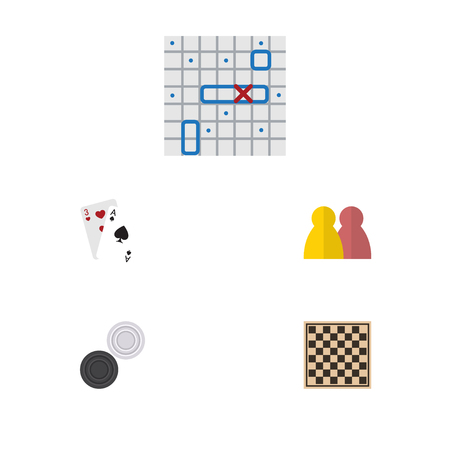 Flat Icon Play Set Of Sea Fight, People, Chess Table And Other Vector Objects. Also Includes Chequer, Chess, Ship Elements. Illustration