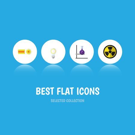 Flat Icon Knowledge Set Of Flask, Chemical, Lightbulb And Other Vector Objects. Also Includes Tube, Oxygen, Molecule Elements.