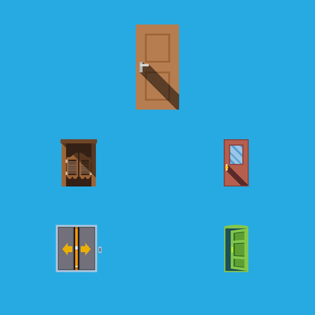 stage door: Flat Icon Approach Set Of Door, Saloon, Frame And Other Vector Objects. Also Includes Exit, Wooden, Saloon Elements. Illustration