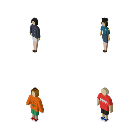 mujer policia: Isometric People Set Of Girl, Policewoman, Guy And Other Vector Objects. Also Includes Female, Man, Officer Elements.
