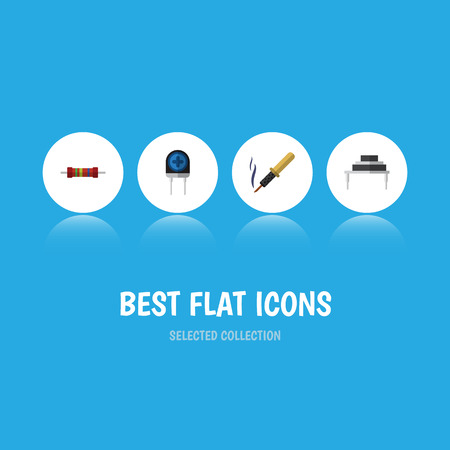 Flat Icon Device Set Of Destination, Resistance, Repair And Other Vector Objects. Also Includes Soldering, Destination, Iron Elements.