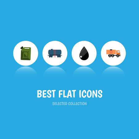 Flat Icon Fuel Set Of Droplet, Fuel Canister, Van And Other Vector Objects. Also Includes Droplet, Drop, Lorry Elements.