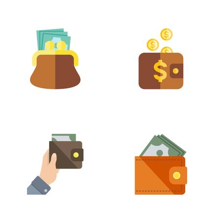 pouch: Flat Icon Billfold Set Of Purse, Pouch, Wallet And Other Vector Objects. Also Includes Money, Purse, Currency Elements. Illustration