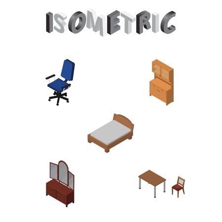 arredamento classico: Set di arredamento isometrico di sedia, letto, cassetto e altri oggetti vettoriali. Include anche letto, poltrona, elementi di letto.