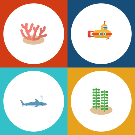 Flat Icon Marine Set Of Periscope, Shark, Seaweed And Other Vector Objects. Also Includes Fish, Submarine, Alga Elements. Illustration